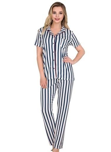 Sensu Kadın Pijama Takımı Kısa Kollu Düğmeli Pj3001 Renkli